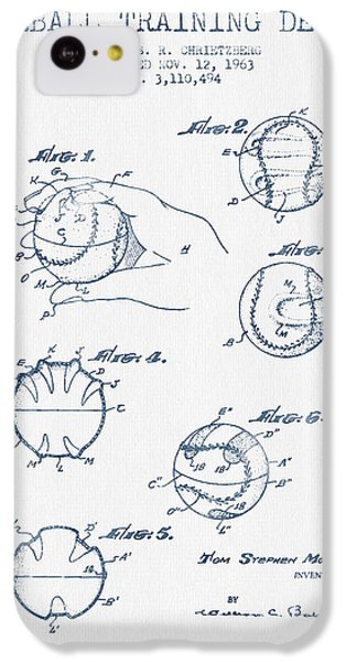 Baseball Training Device Patent Drawing From 1963 - Blue Ink IPhone 5c Case by Aged Pixel