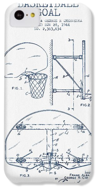 Basketball Goal Patent From 1944 - Blue Ink IPhone 5c Case by Aged Pixel