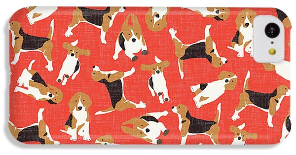 Beagle Scatter Coral Red IPhone 5c Case by Sharon Turner
