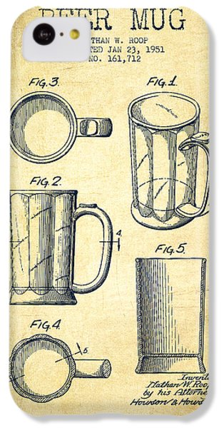 Beer Mug Patent Drawing From 1951 - Vintage IPhone 5c Case by Aged Pixel
