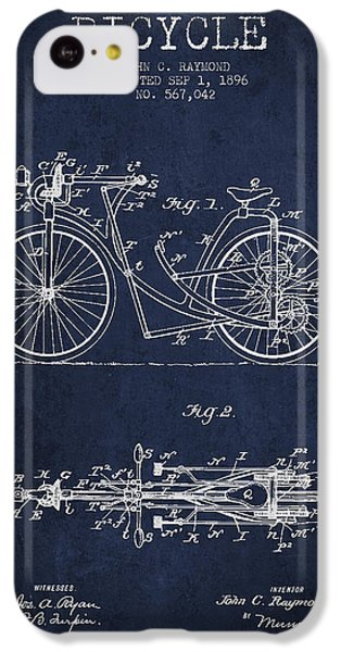 Bicycle Patent Drawing From 1896 - Navy Blue IPhone 5c Case by Aged Pixel
