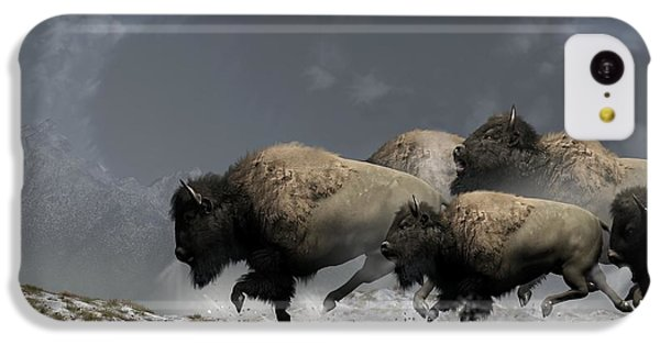 Bison Stampede IPhone 5c Case by Daniel Eskridge