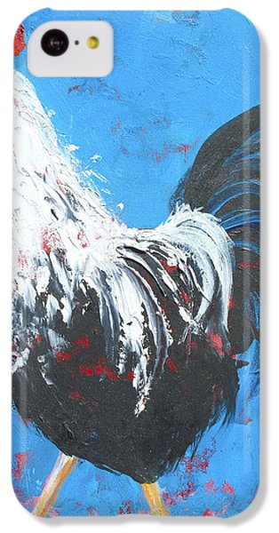 Black And White Rooster On Blue  IPhone 5c Case by Jan Matson