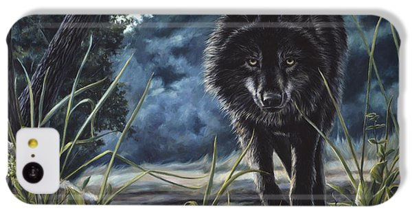 Black Wolf Hunting IPhone 5c Case by Lucie Bilodeau