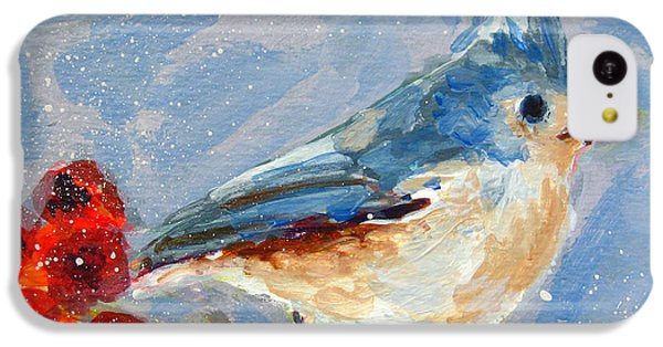 Blue Bird In Winter - Tuft Titmouse Modern Impressionist Art IPhone 5c Case by Patricia Awapara