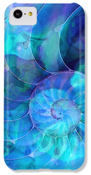 Blue Nautilus Shell By Sharon Cummings IPhone 5c Case by Sharon Cummings