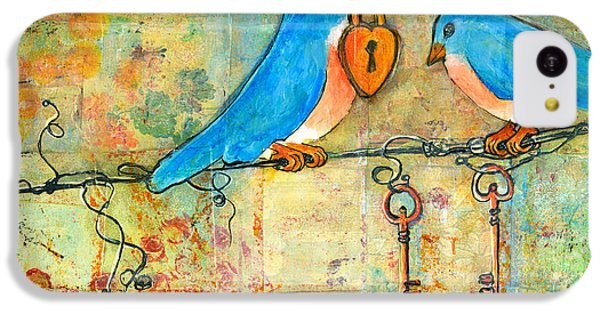 Bluebird Painting - Art Key To My Heart IPhone 5c Case by Blenda Studio