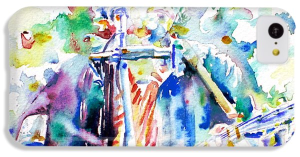 Bob Dylan Playing The Guitar - Watercolor Portrait.1 IPhone 5c Case by Fabrizio Cassetta