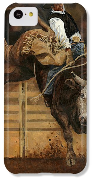 Bull Riding 1 IPhone 5c Case by Don  Langeneckert