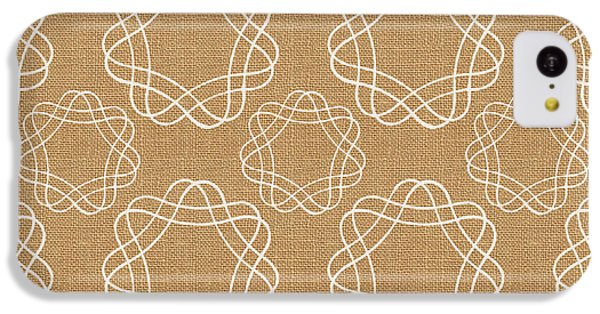 Burlap And White Geometric Flowers IPhone 5c Case by Linda Woods