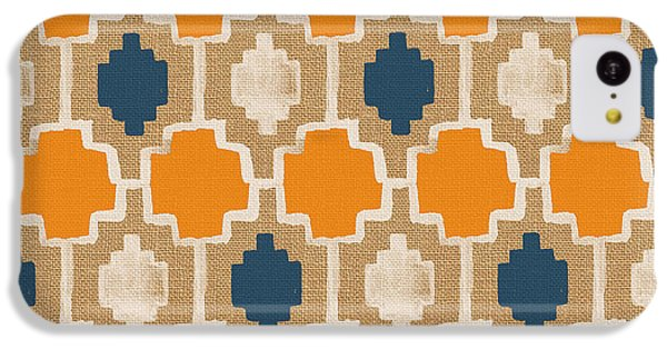 Burlap Blue And Orange Design IPhone 5c Case by Linda Woods