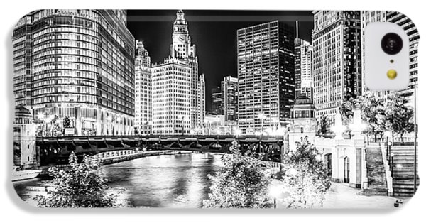 Chicago River Buildings At Night In Black And White IPhone 5c Case by Paul Velgos