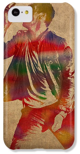 Chris Martin Coldplay Watercolor Portrait On Worn Distressed Canvas IPhone 5c Case by Design Turnpike