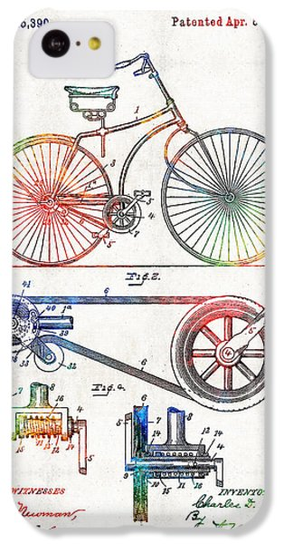 Colorful Bike Art - Vintage Patent - By Sharon Cummings IPhone 5c Case by Sharon Cummings