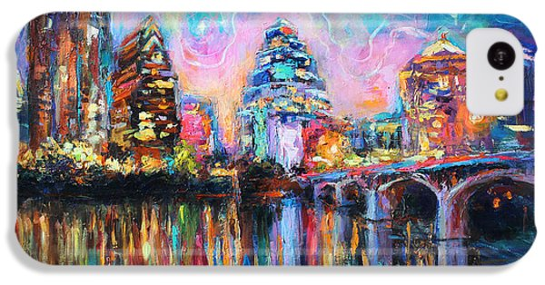 Contemporary Downtown Austin Art Painting Night Skyline Cityscape Painting Texas IPhone 5c Case by Svetlana Novikova