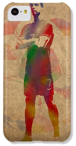 Cristiano Ronaldo Soccer Football Player Portugal Real Madrid Watercolor Painting On Worn Canvas IPhone 5c Case by Design Turnpike