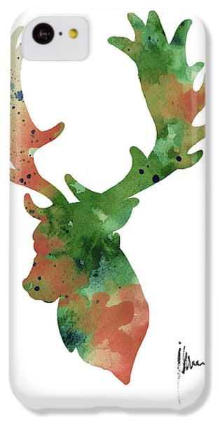 Deer Antlers Silhouette Watercolor Art Print Painting IPhone 5c Case by Joanna Szmerdt