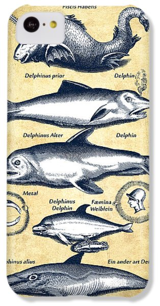 Dolphins - Historiae Naturalis - 1657 - Vintage IPhone 5c Case by Aged Pixel