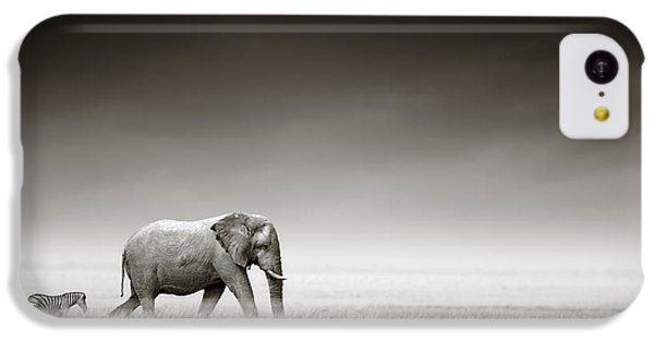 Elephant With Zebra IPhone 5c Case by Johan Swanepoel
