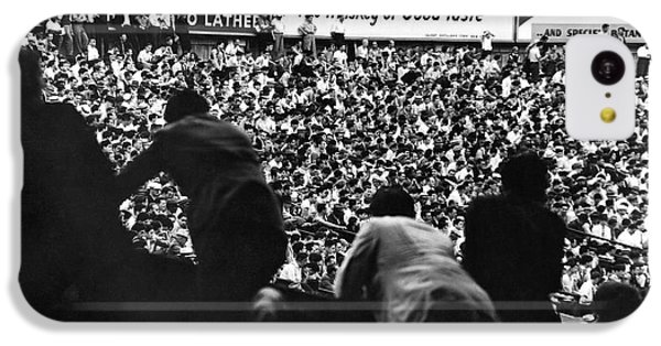 Fans In The Bleachers During A Baseball Game At Yankee Stadium IPhone 5c Case by Underwood Archives