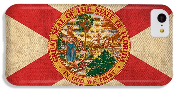 Florida State Flag Art On Worn Canvas IPhone 5c Case by Design Turnpike