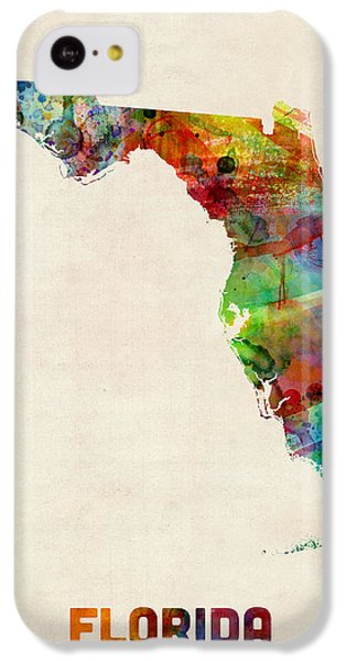 Florida Watercolor Map IPhone 5c Case by Michael Tompsett