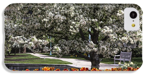 Flowers And Bench At Michigan State University  IPhone 5c Case by John McGraw