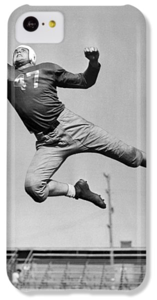 Football Player Catching Pass IPhone 5c Case by Underwood Archives