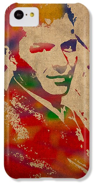 Frank Sinatra Watercolor Portrait On Worn Distressed Canvas IPhone 5c Case by Design Turnpike