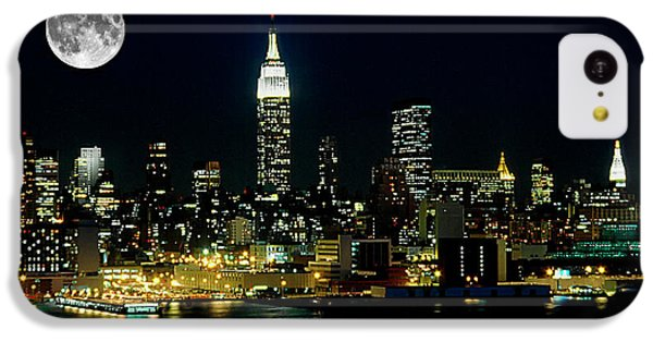 Full Moon Rising - New York City IPhone 5c Case by Anthony Sacco