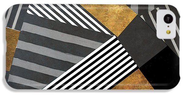Geo Stripes In Gold And Black II IPhone 5c Case by Lanie Loreth