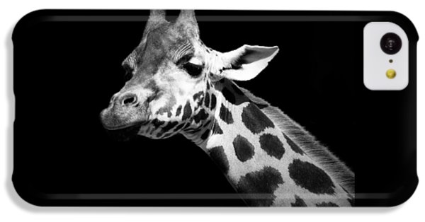 Portrait Of Giraffe In Black And White IPhone 5c Case by Lukas Holas