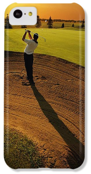 Golfer Taking A Swing From A Golf Bunker IPhone 5c Case by Darren Greenwood