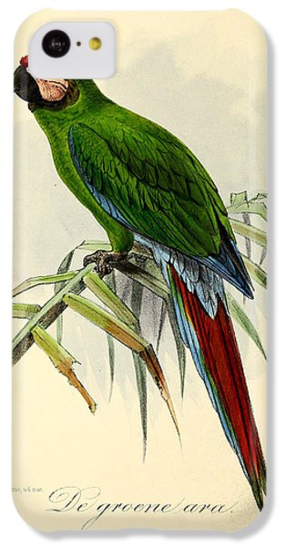 Green Parrot IPhone 5c Case by J G Keulemans