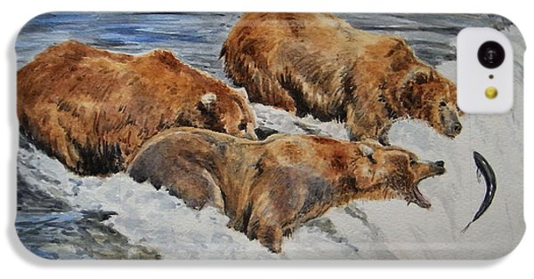 Grizzlies Fishing IPhone 5c Case by Juan  Bosco