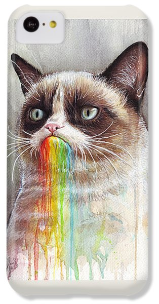 Grumpy Cat Tastes The Rainbow IPhone 5c Case by Olga Shvartsur