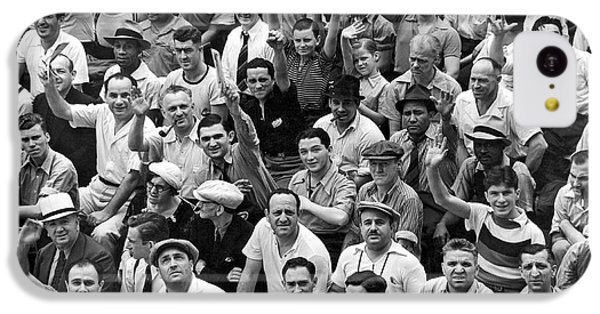 Happy Baseball Fans In The Bleachers At Yankee Stadium. IPhone 5c Case by Underwood Archives