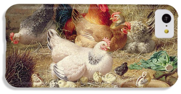Hens Roosting With Their Chickens IPhone 5c Case by Eugene Remy Maes
