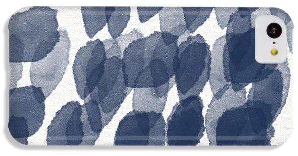 Indigo Rain- Abstract Blue And White Painting IPhone 5c Case by Linda Woods