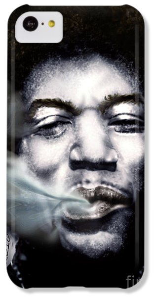 Jimi Hendrix-burning Lights-2 IPhone 5c Case by Reggie Duffie