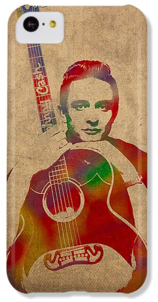 Johnny Cash Watercolor Portrait On Worn Distressed Canvas IPhone 5c Case by Design Turnpike