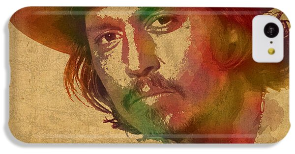 Johnny Depp Watercolor Portrait On Worn Distressed Canvas IPhone 5c Case by Design Turnpike
