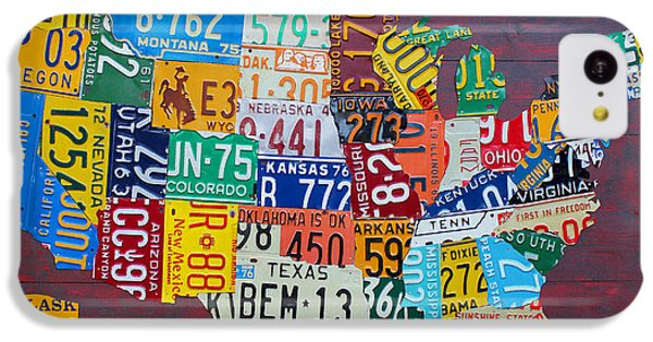 License Plate Map Of The United States IPhone 5c Case by Design Turnpike
