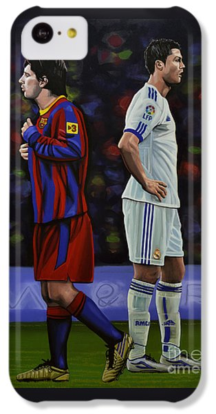 Lionel Messi And Cristiano Ronaldo IPhone 5c Case by Paul Meijering
