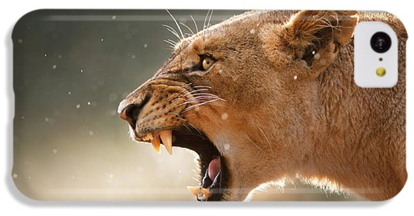 Lioness Displaying Dangerous Teeth In A Rainstorm IPhone 5c Case by Johan Swanepoel