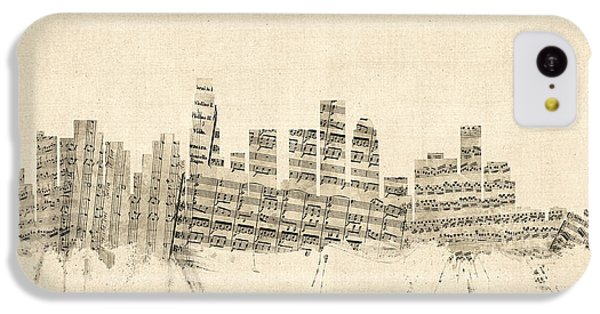 Los Angeles California Skyline Sheet Music Cityscape IPhone 5c Case by Michael Tompsett