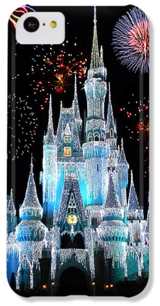 Magic Kingdom Castle In Frosty Light Blue With Fireworks 06 IPhone 5c Case by Thomas Woolworth