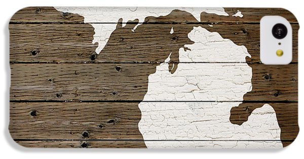 Map Of Michigan State Outline White Distressed Paint On Reclaimed Wood Planks IPhone 5c Case by Design Turnpike