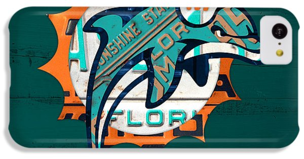 Miami Dolphins Football Team Retro Logo Florida License Plate Art IPhone 5c Case by Design Turnpike