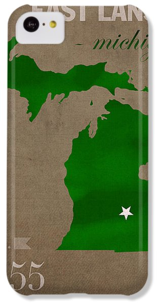 Michigan State University Spartans East Lansing College Town State Map Poster Series No 004 IPhone 5c Case by Design Turnpike